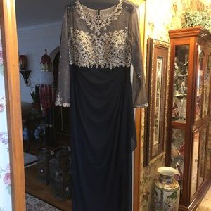 Black and gold embellished illusion too gown